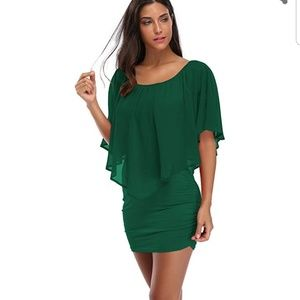 Women's off shoulder ruffles bodycon dress Large